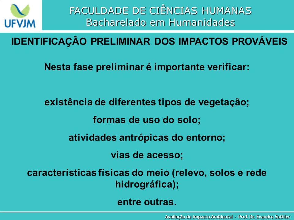 FACULDADE DE CIÊNCIAS HUMANAS Bacharelado em Humanidades Avaliação de Impacto Ambiental - Prof. Dr. Evandro Sathler IDENTIFICAÇÃO PRELIMINAR DOS IMPAC