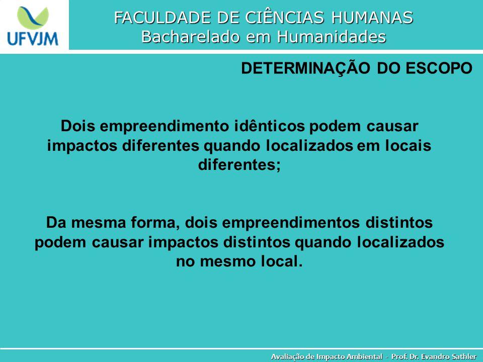 FACULDADE DE CIÊNCIAS HUMANAS Bacharelado em Humanidades Avaliação de Impacto Ambiental - Prof. Dr. Evandro Sathler DETERMINAÇÃO DO ESCOPO Dois empree