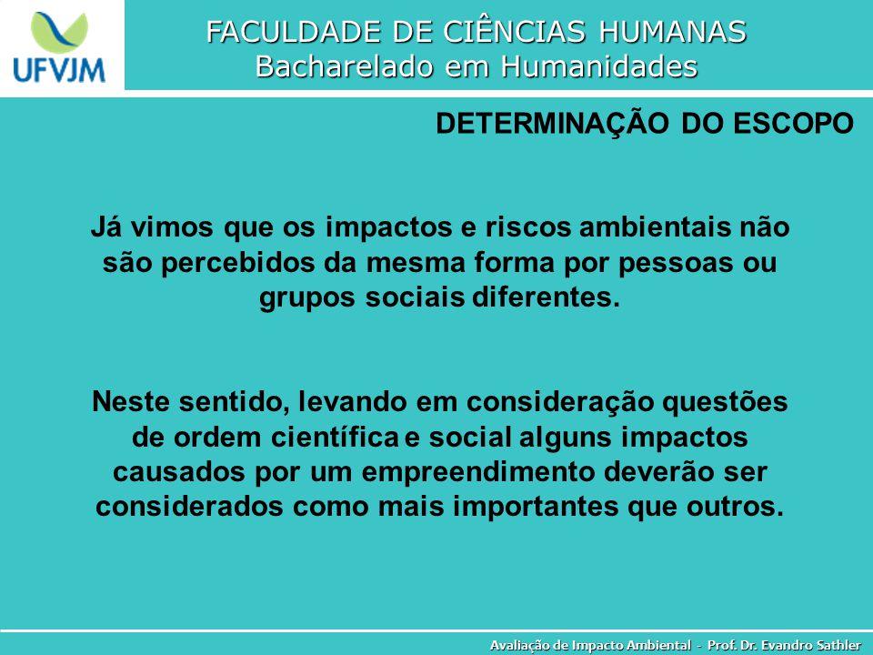 FACULDADE DE CIÊNCIAS HUMANAS Bacharelado em Humanidades Avaliação de Impacto Ambiental - Prof. Dr. Evandro Sathler DETERMINAÇÃO DO ESCOPO Já vimos qu