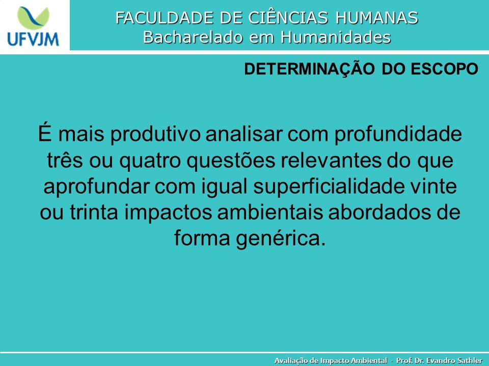 FACULDADE DE CIÊNCIAS HUMANAS Bacharelado em Humanidades Avaliação de Impacto Ambiental - Prof. Dr. Evandro Sathler DETERMINAÇÃO DO ESCOPO É mais prod