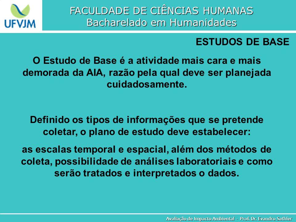 FACULDADE DE CIÊNCIAS HUMANAS Bacharelado em Humanidades Avaliação de Impacto Ambiental - Prof. Dr. Evandro Sathler ESTUDOS DE BASE O Estudo de Base é