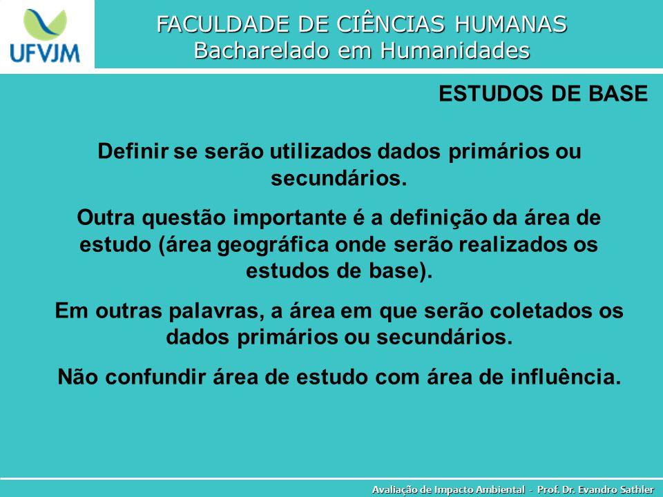 FACULDADE DE CIÊNCIAS HUMANAS Bacharelado em Humanidades Avaliação de Impacto Ambiental - Prof. Dr. Evandro Sathler ESTUDOS DE BASE Definir se serão u