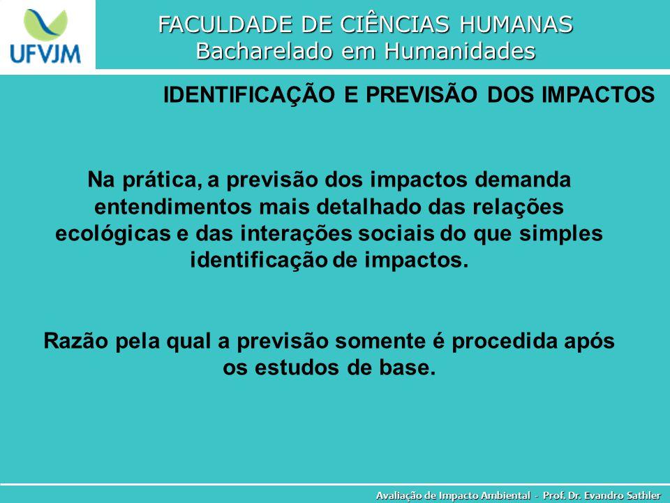 FACULDADE DE CIÊNCIAS HUMANAS Bacharelado em Humanidades Avaliação de Impacto Ambiental - Prof. Dr. Evandro Sathler IDENTIFICAÇÃO E PREVISÃO DOS IMPAC