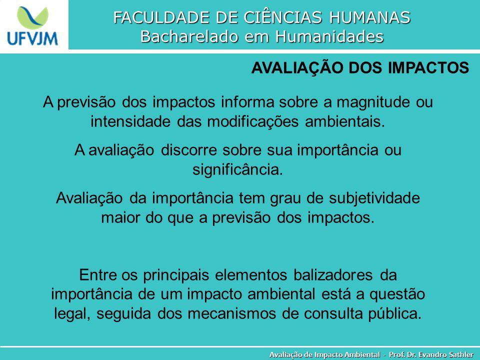 FACULDADE DE CIÊNCIAS HUMANAS Bacharelado em Humanidades Avaliação de Impacto Ambiental - Prof. Dr. Evandro Sathler AVALIAÇÃO DOS IMPACTOS A previsão