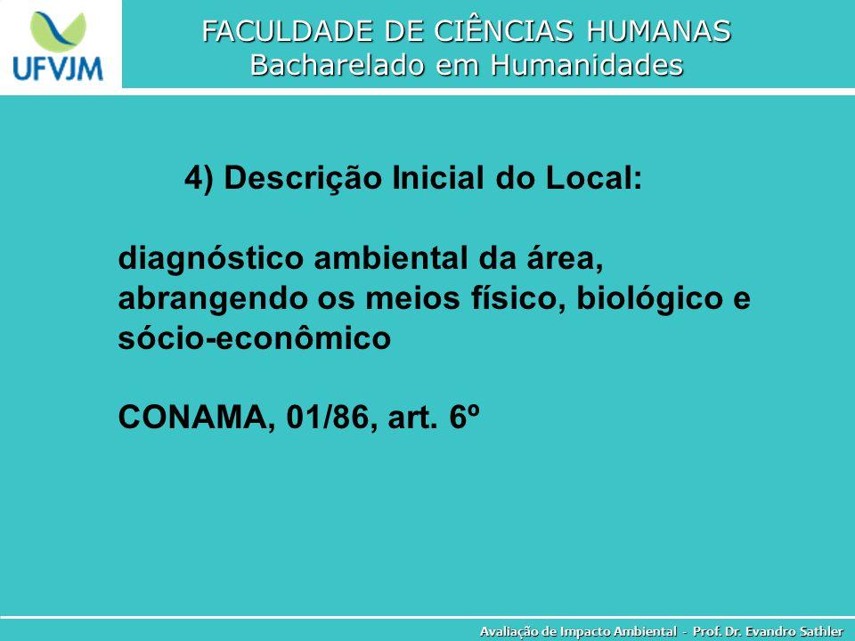 FACULDADE DE CIÊNCIAS HUMANAS Bacharelado em Humanidades Avaliação de Impacto Ambiental - Prof. Dr. Evandro Sathler 4) Descrição Inicial do Local: dia