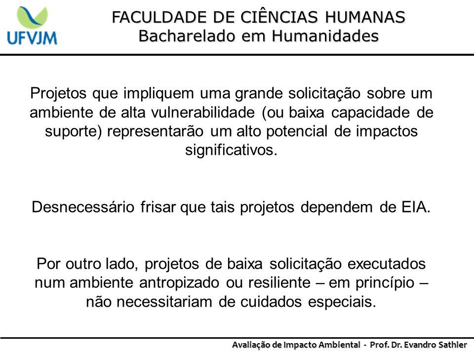 FACULDADE DE CIÊNCIAS HUMANAS Bacharelado em Humanidades Avaliação de Impacto Ambiental - Prof. Dr. Evandro Sathler Projetos que impliquem uma grande
