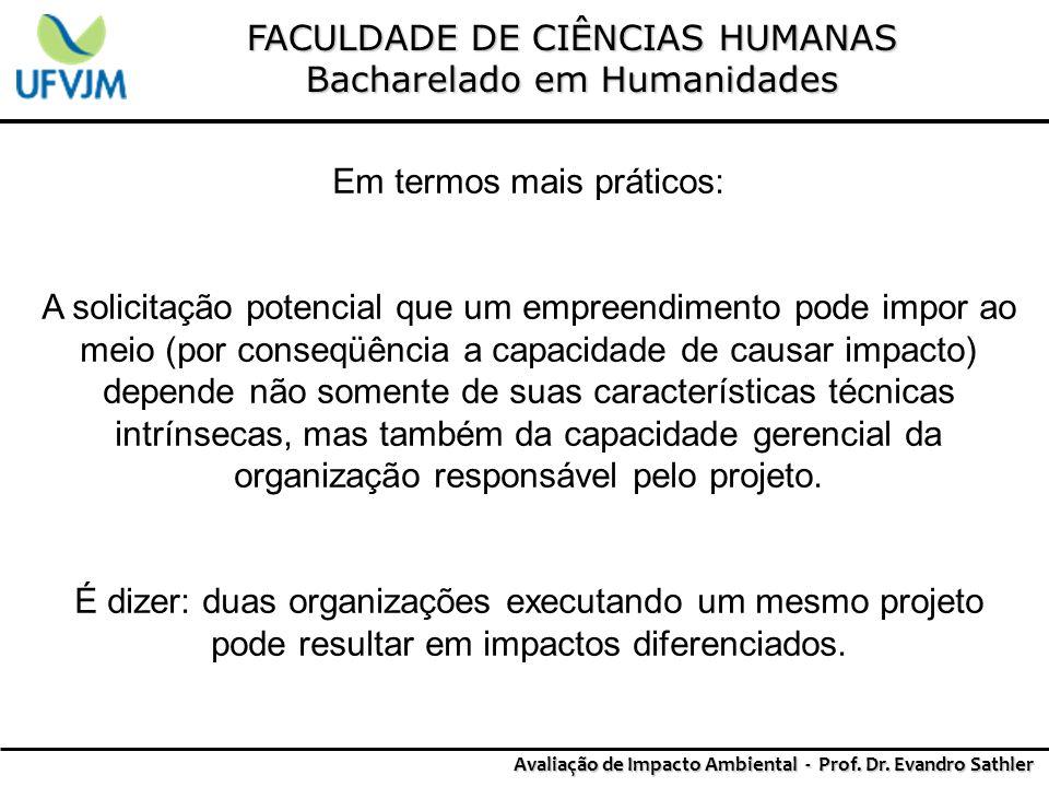 FACULDADE DE CIÊNCIAS HUMANAS Bacharelado em Humanidades Avaliação de Impacto Ambiental - Prof. Dr. Evandro Sathler Em termos mais práticos: A solicit