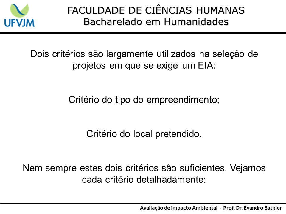 FACULDADE DE CIÊNCIAS HUMANAS Bacharelado em Humanidades Avaliação de Impacto Ambiental - Prof. Dr. Evandro Sathler Dois critérios são largamente util