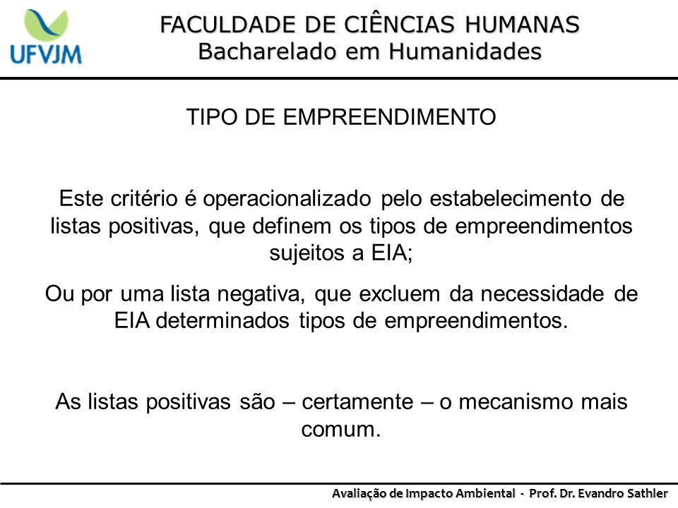FACULDADE DE CIÊNCIAS HUMANAS Bacharelado em Humanidades Avaliação de Impacto Ambiental - Prof. Dr. Evandro Sathler TIPO DE EMPREENDIMENTO Este critér