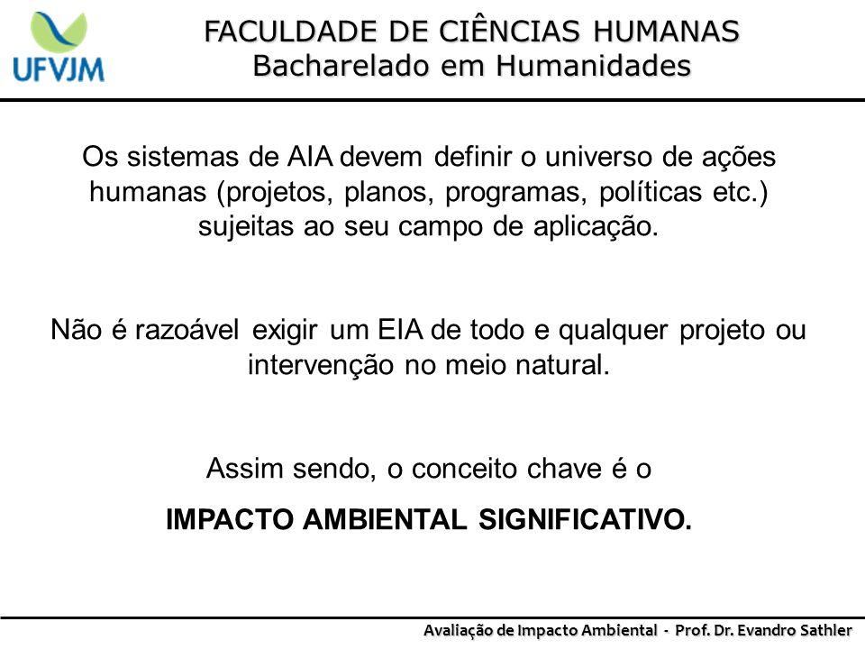 FACULDADE DE CIÊNCIAS HUMANAS Bacharelado em Humanidades Avaliação de Impacto Ambiental - Prof. Dr. Evandro Sathler Os sistemas de AIA devem definir o