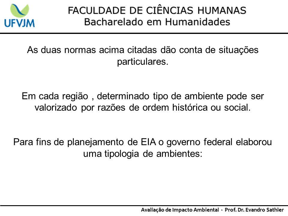FACULDADE DE CIÊNCIAS HUMANAS Bacharelado em Humanidades Avaliação de Impacto Ambiental - Prof. Dr. Evandro Sathler As duas normas acima citadas dão c