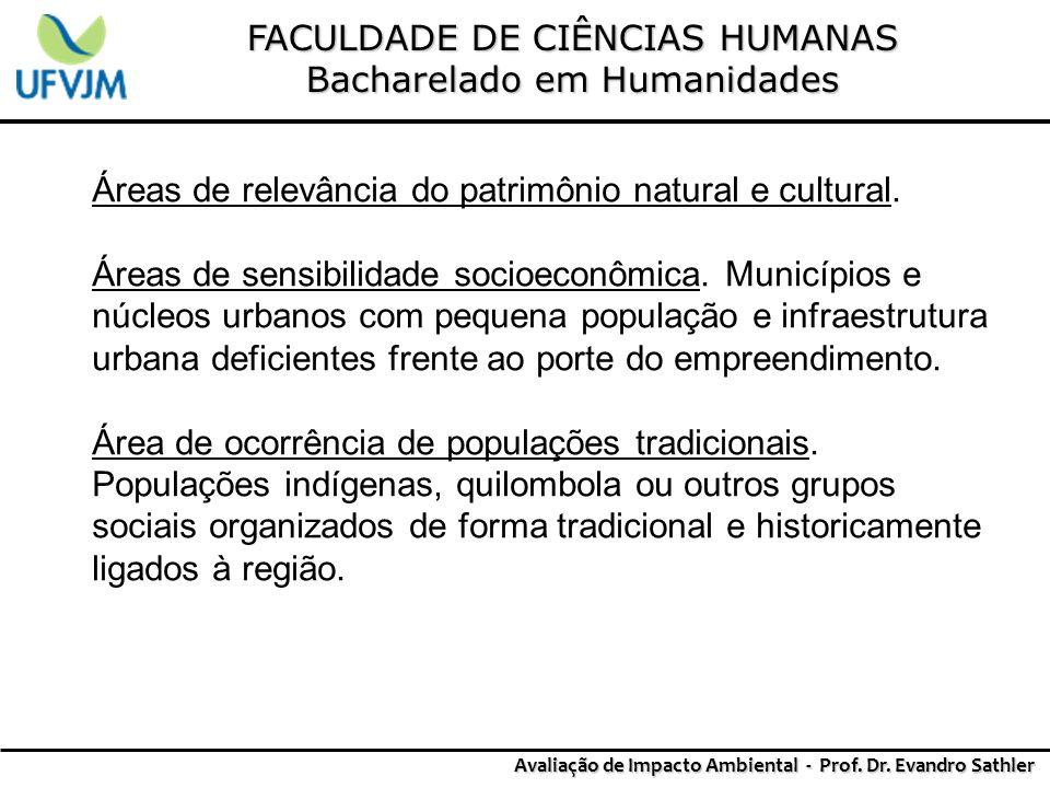 FACULDADE DE CIÊNCIAS HUMANAS Bacharelado em Humanidades Avaliação de Impacto Ambiental - Prof. Dr. Evandro Sathler Áreas de relevância do patrimônio