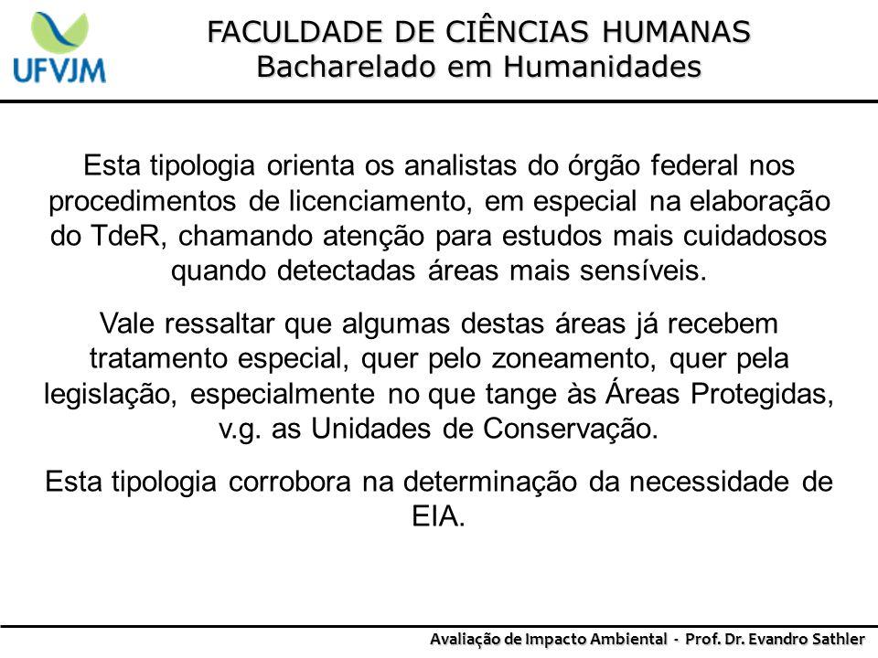 FACULDADE DE CIÊNCIAS HUMANAS Bacharelado em Humanidades Avaliação de Impacto Ambiental - Prof. Dr. Evandro Sathler Esta tipologia orienta os analista