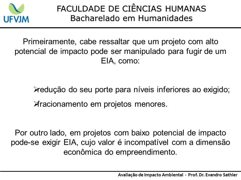FACULDADE DE CIÊNCIAS HUMANAS Bacharelado em Humanidades Avaliação de Impacto Ambiental - Prof. Dr. Evandro Sathler Primeiramente, cabe ressaltar que