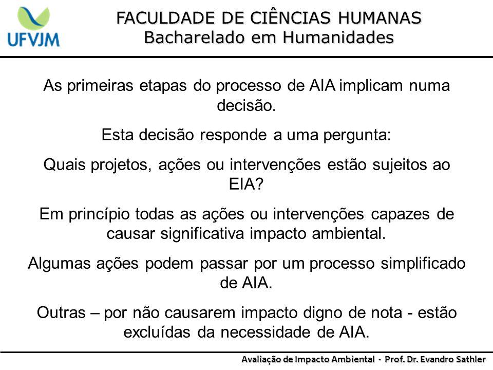 FACULDADE DE CIÊNCIAS HUMANAS Bacharelado em Humanidades Avaliação de Impacto Ambiental - Prof. Dr. Evandro Sathler As primeiras etapas do processo de