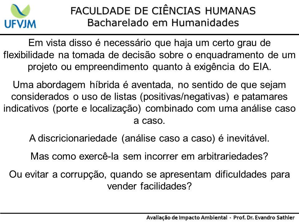 FACULDADE DE CIÊNCIAS HUMANAS Bacharelado em Humanidades Avaliação de Impacto Ambiental - Prof. Dr. Evandro Sathler Em vista disso é necessário que ha