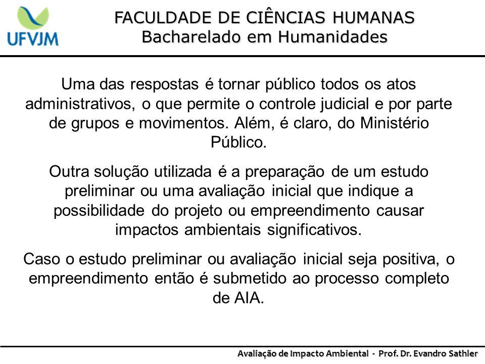 FACULDADE DE CIÊNCIAS HUMANAS Bacharelado em Humanidades Avaliação de Impacto Ambiental - Prof. Dr. Evandro Sathler Uma das respostas é tornar público