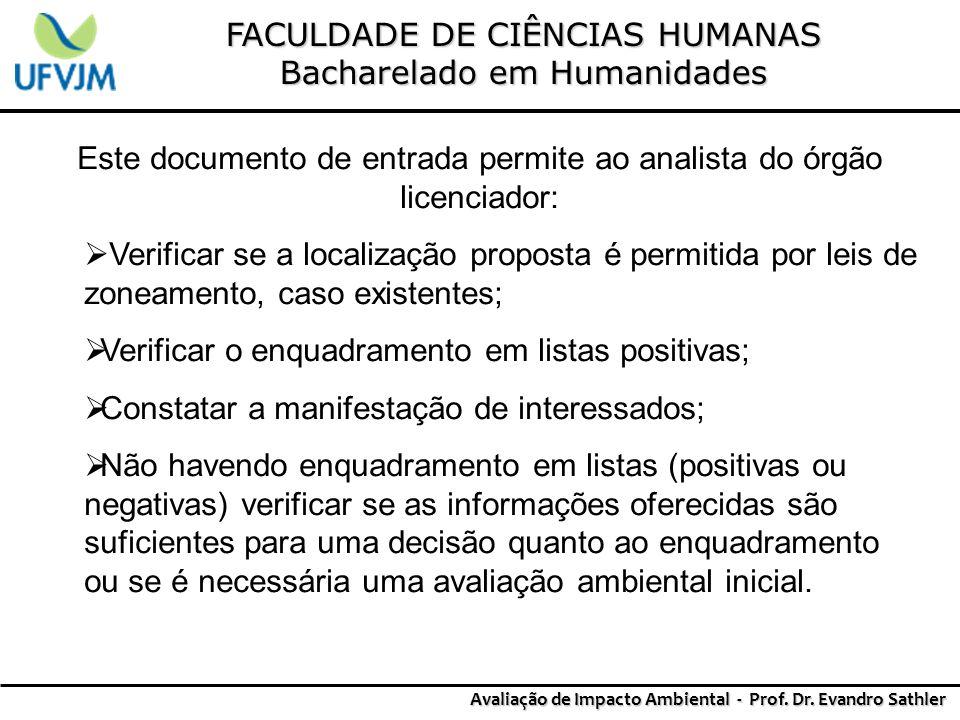 FACULDADE DE CIÊNCIAS HUMANAS Bacharelado em Humanidades Avaliação de Impacto Ambiental - Prof. Dr. Evandro Sathler Este documento de entrada permite