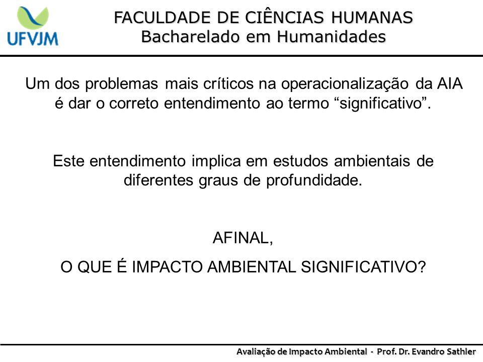 FACULDADE DE CIÊNCIAS HUMANAS Bacharelado em Humanidades Avaliação de Impacto Ambiental - Prof. Dr. Evandro Sathler Um dos problemas mais críticos na