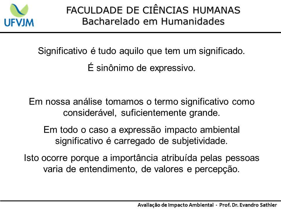 FACULDADE DE CIÊNCIAS HUMANAS Bacharelado em Humanidades Avaliação de Impacto Ambiental - Prof. Dr. Evandro Sathler Significativo é tudo aquilo que te