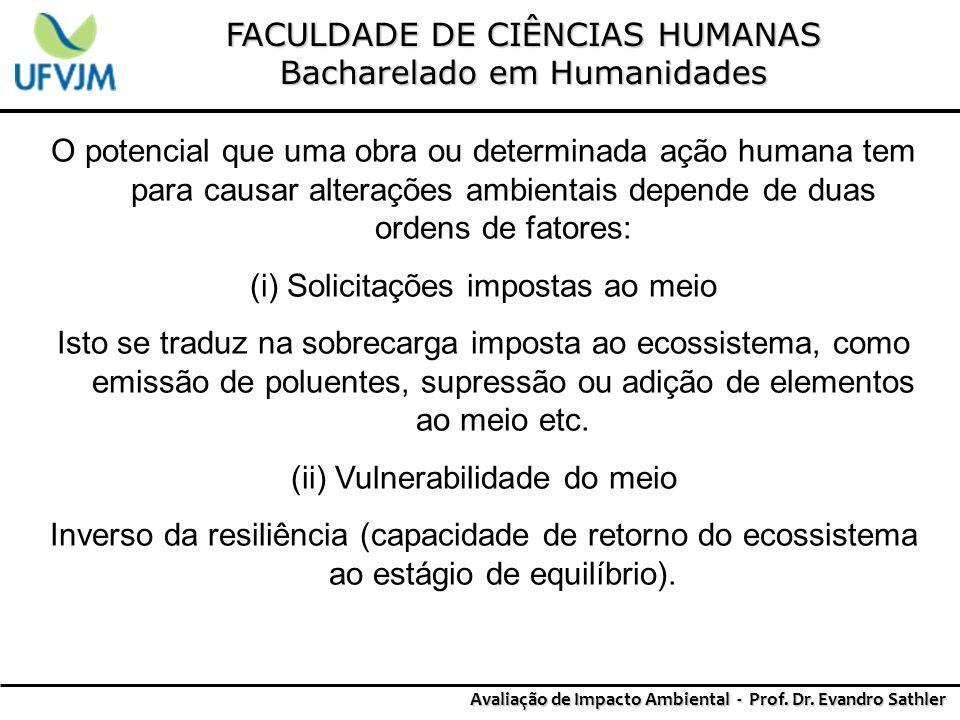 FACULDADE DE CIÊNCIAS HUMANAS Bacharelado em Humanidades Avaliação de Impacto Ambiental - Prof. Dr. Evandro Sathler O potencial que uma obra ou determ