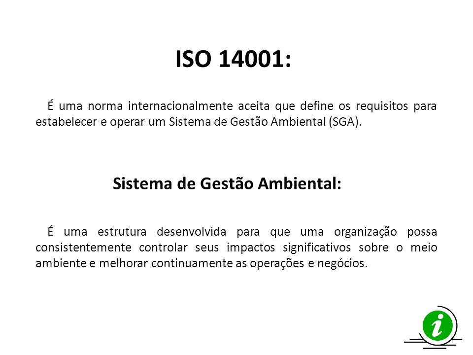 ISO 14001: É uma norma internacionalmente aceita que define os requisitos para estabelecer e operar um Sistema de Gestão Ambiental (SGA).