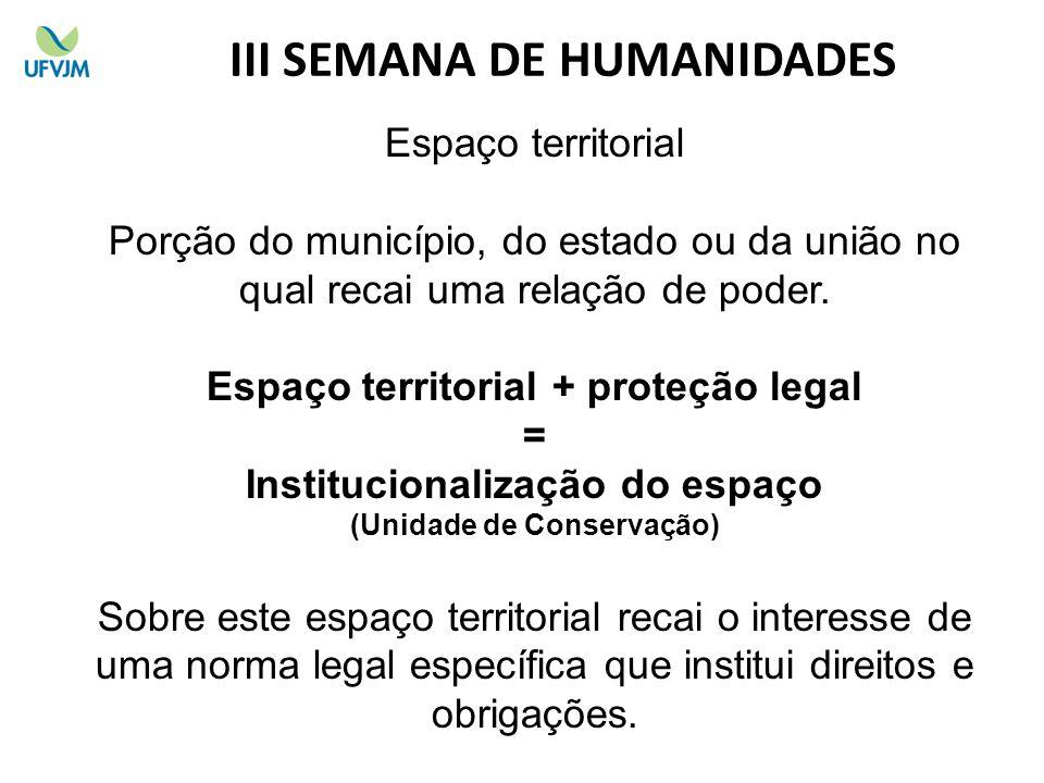 Espaço territorial Porção do município, do estado ou da união no qual recai uma relação de poder. Espaço territorial + proteção legal = Institucionali