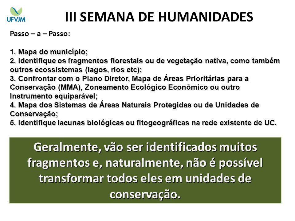 Passo – a – Passo: 1. M apa do município; 2. I dentifique os fragmentos florestais ou de vegetação nativa, como também outros ecossistemas (lagos, rio