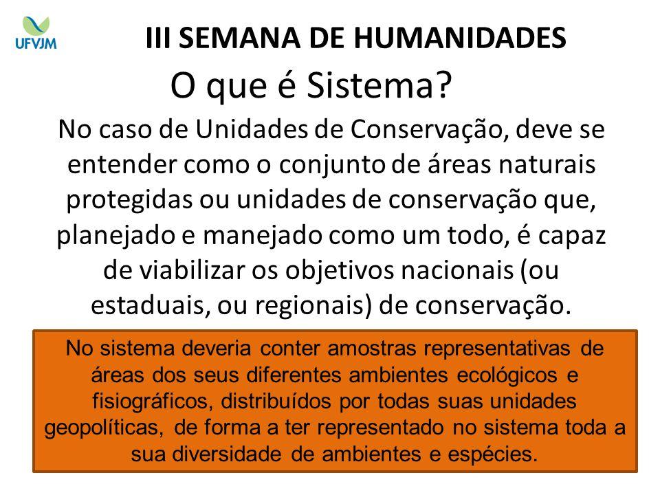 O que é Sistema? No caso de Unidades de Conservação, deve se entender como o conjunto de áreas naturais protegidas ou unidades de conservação que, pla