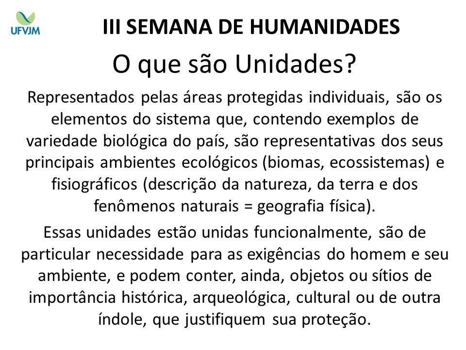 O que são Unidades? Representados pelas áreas protegidas individuais, são os elementos do sistema que, contendo exemplos de variedade biológica do paí