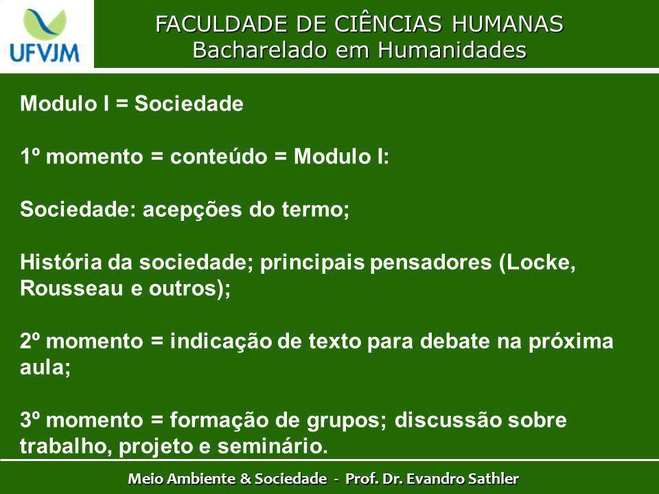 FACULDADE DE CIÊNCIAS HUMANAS Bacharelado em Humanidades Meio Ambiente & Sociedade - Prof. Dr. Evandro Sathler Modulo I = Sociedade 1º momento = conte