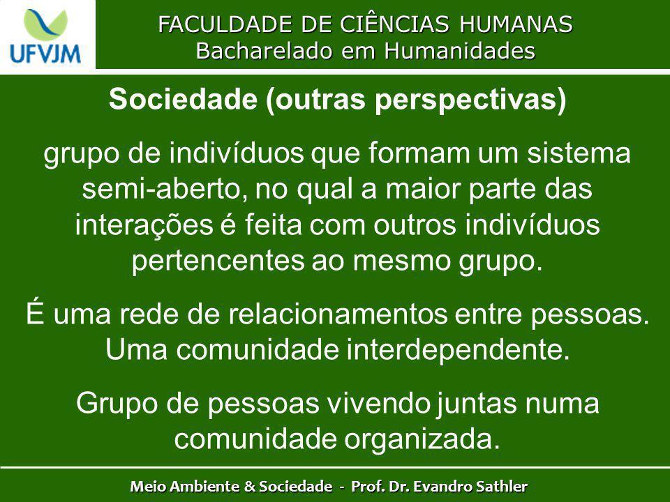 FACULDADE DE CIÊNCIAS HUMANAS Bacharelado em Humanidades Meio Ambiente & Sociedade - Prof. Dr. Evandro Sathler Sociedade (outras perspectivas) grupo d