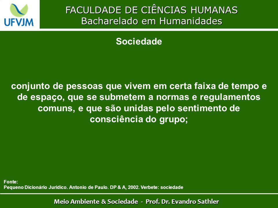 FACULDADE DE CIÊNCIAS HUMANAS Bacharelado em Humanidades Meio Ambiente & Sociedade - Prof. Dr. Evandro Sathler Sociedade conjunto de pessoas que vivem