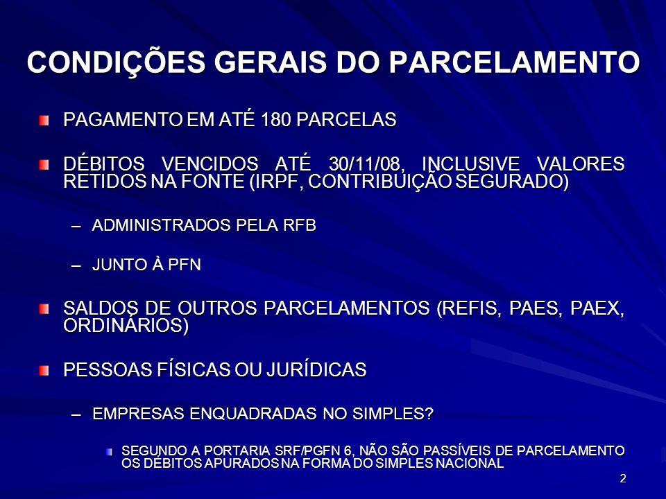 2 CONDIÇÕES GERAIS DO PARCELAMENTO PAGAMENTO EM ATÉ 180 PARCELAS DÉBITOS VENCIDOS ATÉ 30/11/08, INCLUSIVE VALORES RETIDOS NA FONTE (IRPF, CONTRIBUIÇÃO SEGURADO) –ADMINISTRADOS PELA RFB –JUNTO À PFN SALDOS DE OUTROS PARCELAMENTOS (REFIS, PAES, PAEX, ORDINÁRIOS) PESSOAS FÍSICAS OU JURÍDICAS –EMPRESAS ENQUADRADAS NO SIMPLES.