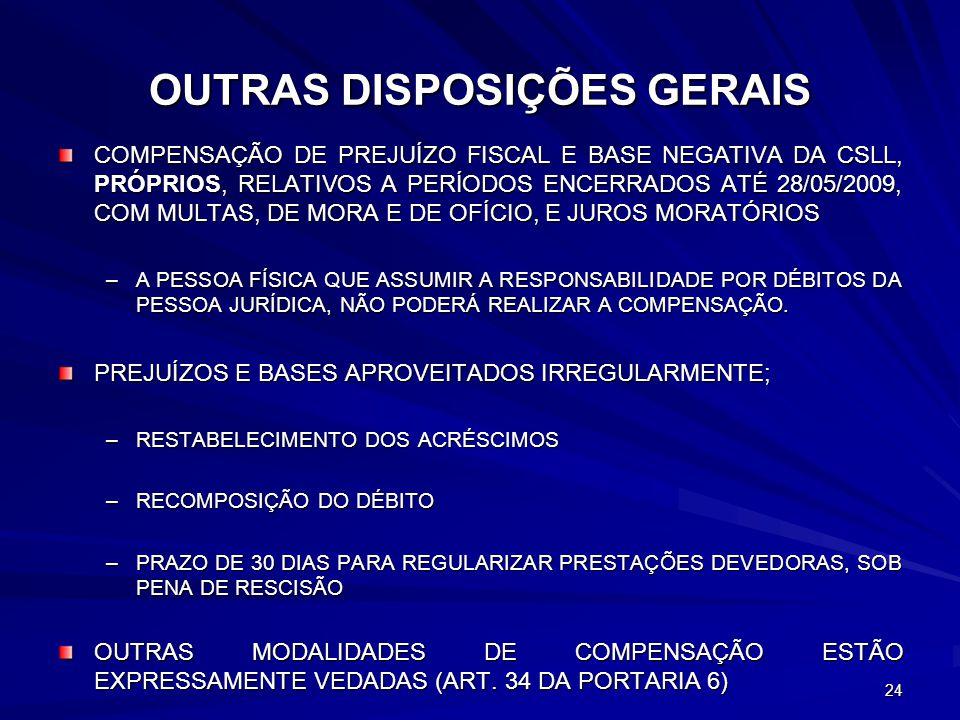 OUTRAS DISPOSIÇÕES GERAIS COMPENSAÇÃO DE PREJUÍZO FISCAL E BASE NEGATIVA DA CSLL, PRÓPRIOS, RELATIVOS A PERÍODOS ENCERRADOS ATÉ 28/05/2009, COM MULTAS