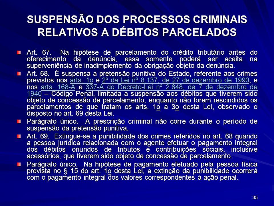 35 SUSPENSÃO DOS PROCESSOS CRIMINAIS RELATIVOS A DÉBITOS PARCELADOS Art. 67. Na hipótese de parcelamento do crédito tributário antes do oferecimento d