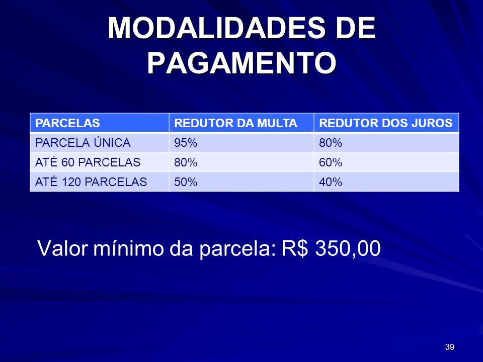 MODALIDADES DE PAGAMENTO PARCELASREDUTOR DA MULTAREDUTOR DOS JUROS PARCELA ÚNICA95%80% ATÉ 60 PARCELAS80%60% ATÉ 120 PARCELAS50%40% 39 Valor mínimo da