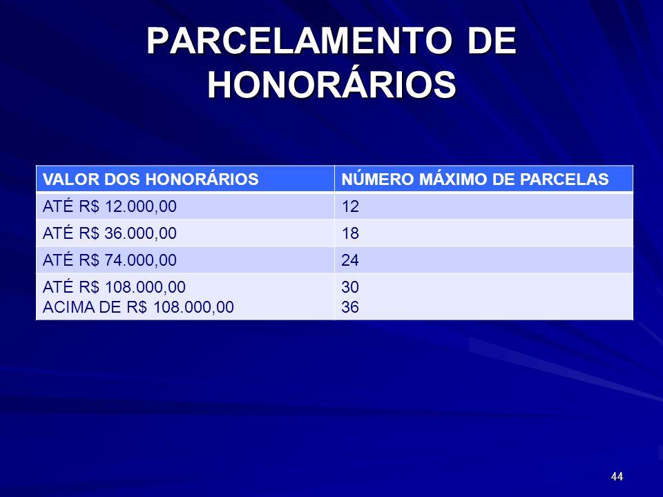PARCELAMENTO DE HONORÁRIOS VALOR DOS HONORÁRIOSNÚMERO MÁXIMO DE PARCELAS ATÉ R$ 12.000,0012 ATÉ R$ 36.000,0018 ATÉ R$ 74.000,0024 ATÉ R$ 108.000,00 ACIMA DE R$ 108.000,00 30 36 44