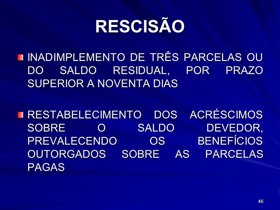 RESCISÃO INADIMPLEMENTO DE TRÊS PARCELAS OU DO SALDO RESIDUAL, POR PRAZO SUPERIOR A NOVENTA DIAS RESTABELECIMENTO DOS ACRÉSCIMOS SOBRE O SALDO DEVEDOR