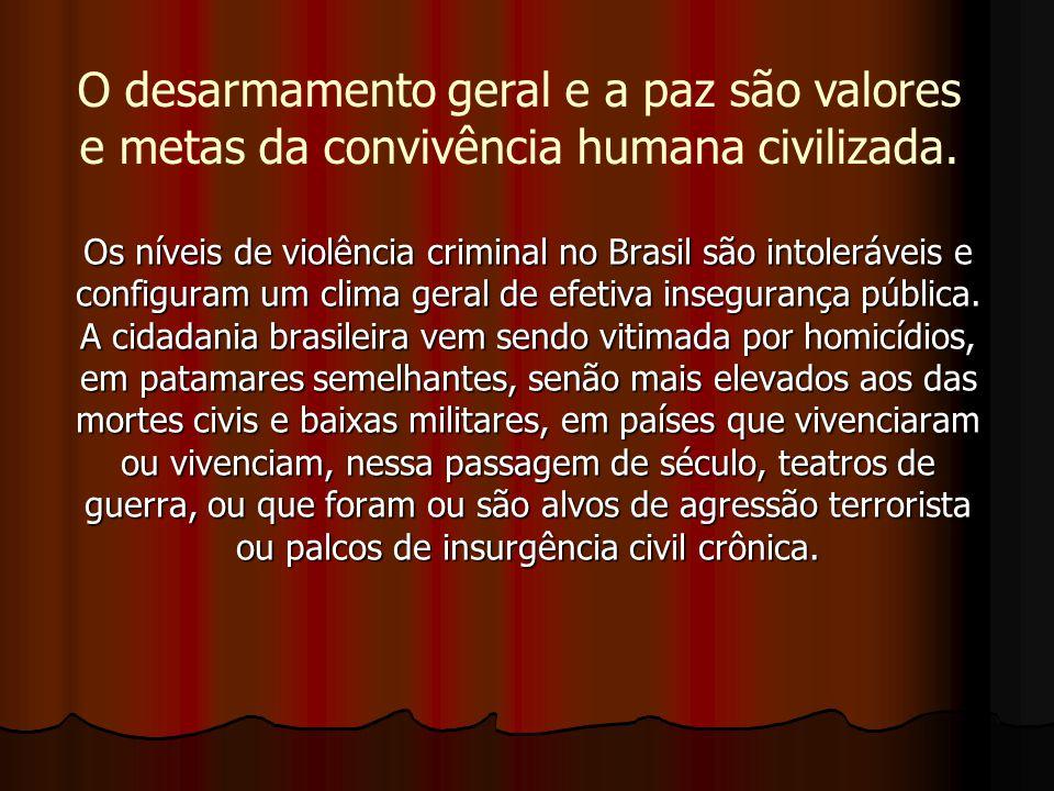 Os níveis de violência criminal no Brasil são intoleráveis e configuram um clima geral de efetiva insegurança pública. A cidadania brasileira vem send