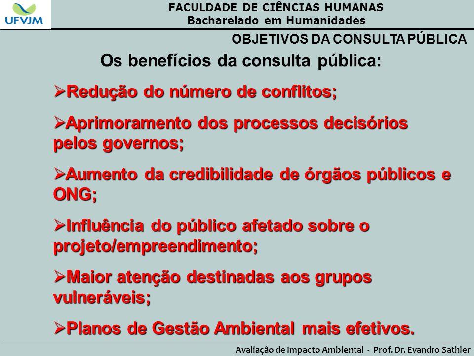 FACULDADE DE CIÊNCIAS HUMANAS Bacharelado em Humanidades Avaliação de Impacto Ambiental - Prof. Dr. Evandro Sathler OBJETIVOS DA CONSULTA PÚBLICA Os b
