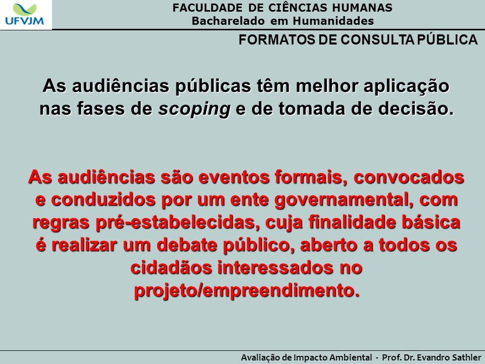 FACULDADE DE CIÊNCIAS HUMANAS Bacharelado em Humanidades Avaliação de Impacto Ambiental - Prof. Dr. Evandro Sathler FORMATOS DE CONSULTA PÚBLICA As au