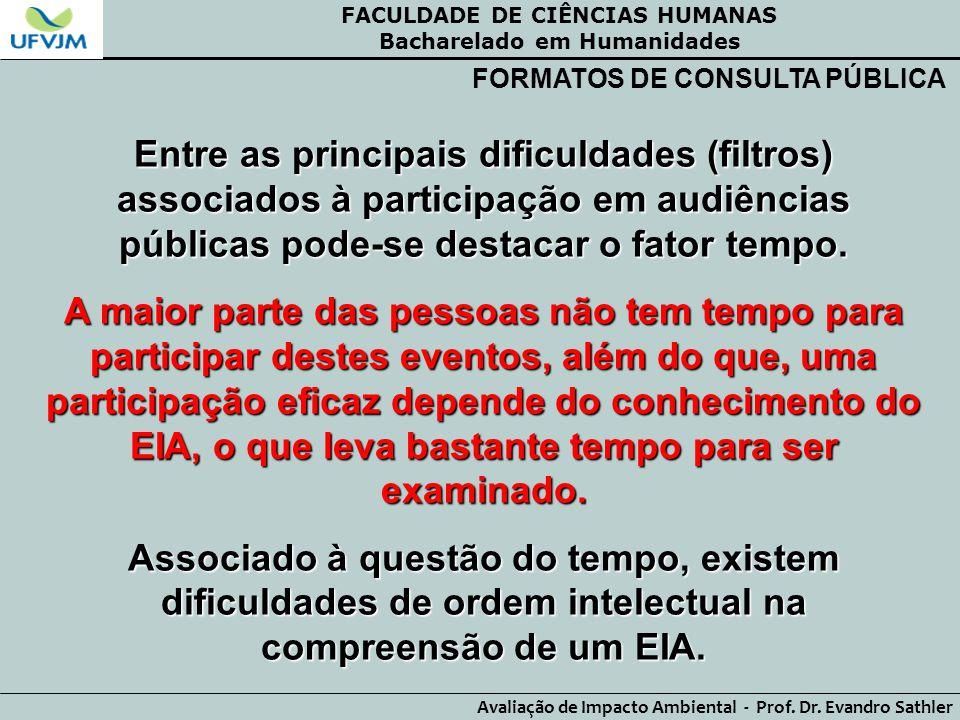 FACULDADE DE CIÊNCIAS HUMANAS Bacharelado em Humanidades Avaliação de Impacto Ambiental - Prof. Dr. Evandro Sathler FORMATOS DE CONSULTA PÚBLICA Entre