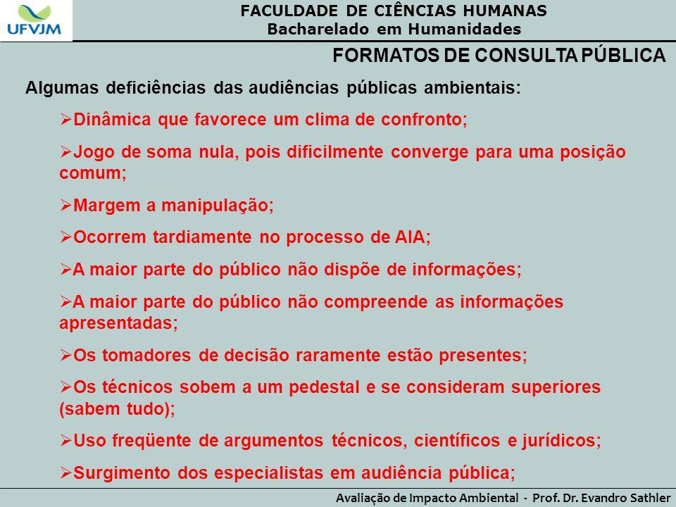 FACULDADE DE CIÊNCIAS HUMANAS Bacharelado em Humanidades Avaliação de Impacto Ambiental - Prof. Dr. Evandro Sathler FORMATOS DE CONSULTA PÚBLICA Algum