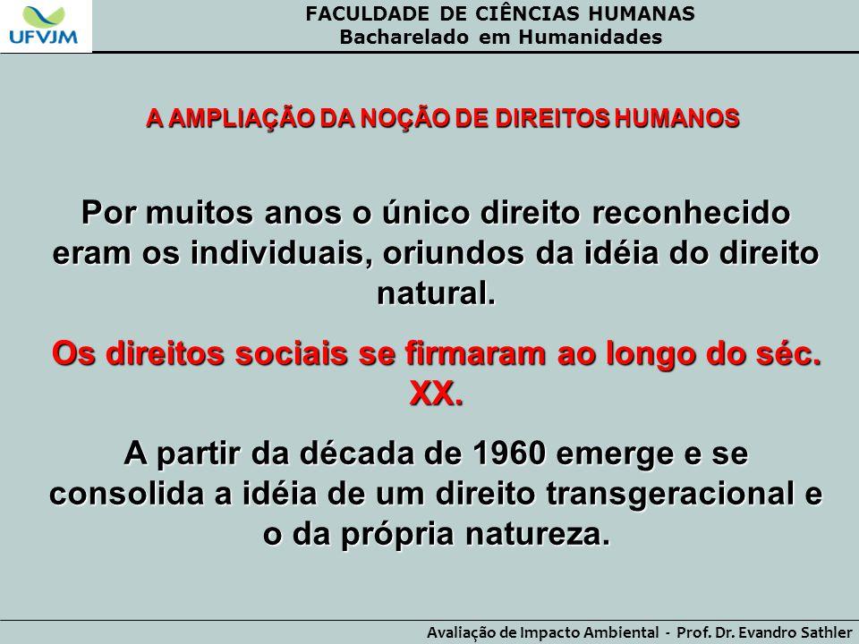 FACULDADE DE CIÊNCIAS HUMANAS Bacharelado em Humanidades Avaliação de Impacto Ambiental - Prof. Dr. Evandro Sathler A AMPLIAÇÃO DA NOÇÃO DE DIREITOS H