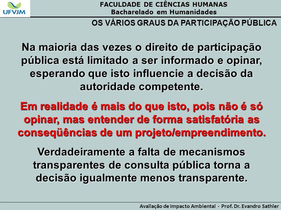 FACULDADE DE CIÊNCIAS HUMANAS Bacharelado em Humanidades Avaliação de Impacto Ambiental - Prof. Dr. Evandro Sathler OS VÁRIOS GRAUS DA PARTICIPAÇÃO PÚ