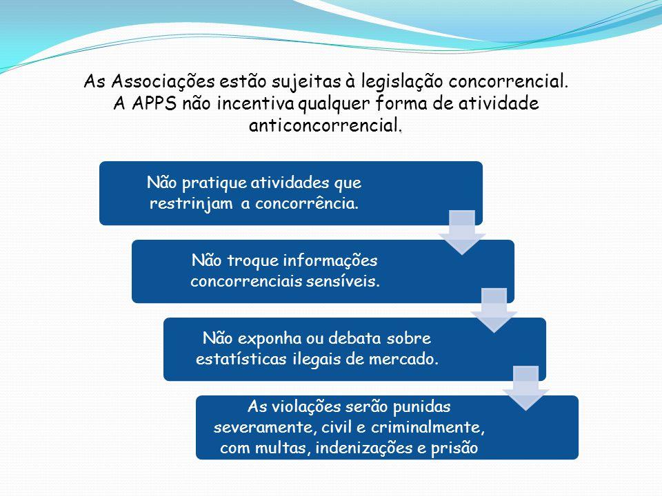 As Associações estão sujeitas à legislação concorrencial.. A APPS não incentiva qualquer forma de atividade anticoncorrencial. Não pratique atividades