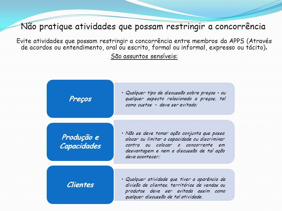 Evite atividades que possam restringir a concorrência entre membros da APPS (Através de acordos ou entendimento, oral ou escrito, formal ou informal,