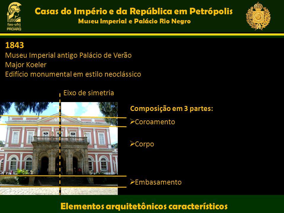 Casas do Império e da República em Petrópolis Museu Imperial e Palácio Rio Negro Composição em 3 partes: Eixo de simetria Coroamento Corpo Embasamento