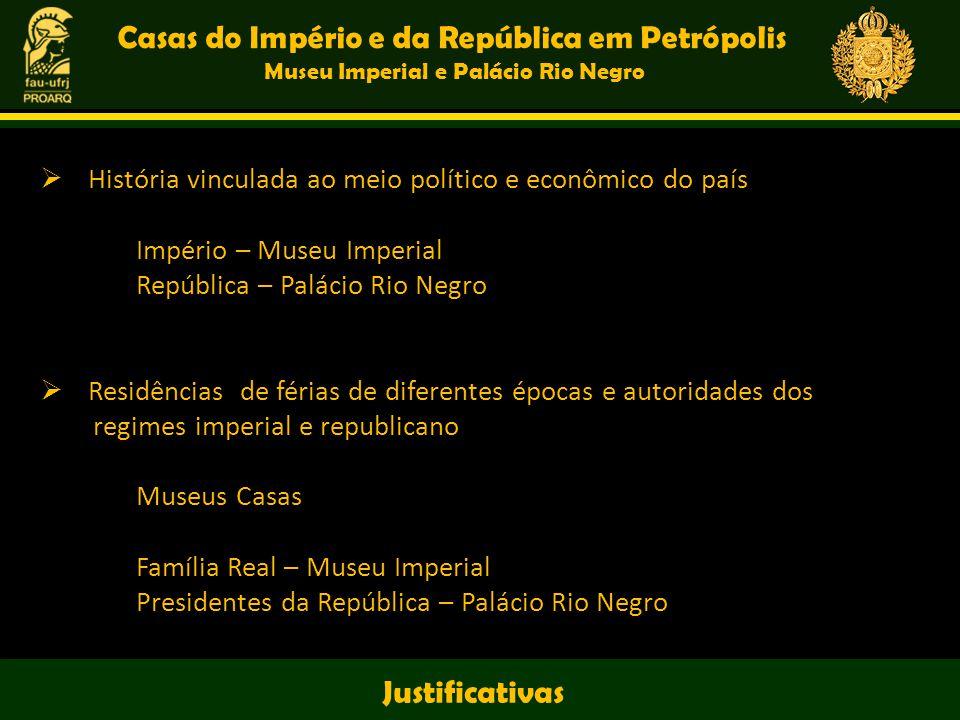 História vinculada ao meio político e econômico do país Império – Museu Imperial República – Palácio Rio Negro Residências de férias de diferentes épo